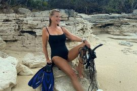 Beach babe: Christie Brinkley looked sexy standing on the beach after a spot of diving in Turks and Caicos on Saturday