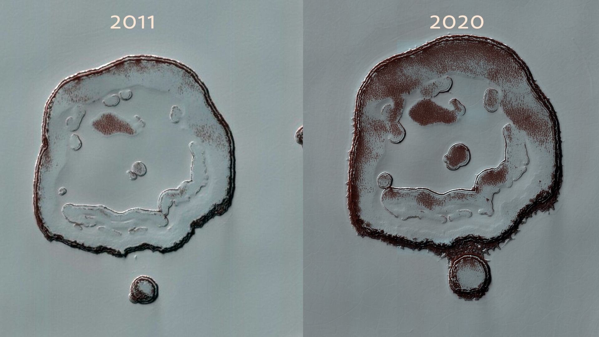 """The """"happy face crater"""" on Mars has changed right before our eyes"""